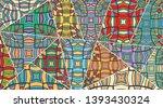 vector patchwork quilt pattern. ... | Shutterstock .eps vector #1393430324