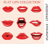 sexy lips collection in flat... | Shutterstock .eps vector #1393430567