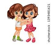 two lovely happy best friends... | Shutterstock .eps vector #1393481621