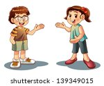 boy and girl welcome | Shutterstock .eps vector #139349015