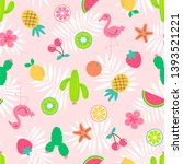 cute hand drawn summer elements ... | Shutterstock .eps vector #1393521221