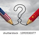 china usa questions and... | Shutterstock . vector #1393530377