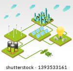 solar panels  wind turbines... | Shutterstock .eps vector #1393533161