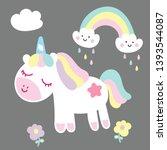 illustrator of cute unicorn...   Shutterstock .eps vector #1393544087