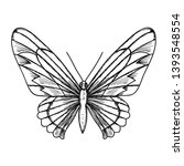 isolated sketch of butterfly... | Shutterstock .eps vector #1393548554