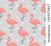 flamingo cute seamless pattern  ... | Shutterstock .eps vector #1393573817