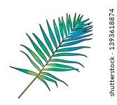 palm leaf  green watercolor  one | Shutterstock .eps vector #1393618874