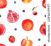 pattern of fruit painted with... | Shutterstock . vector #1393619957