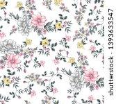 seamless flower pattern on... | Shutterstock .eps vector #1393633547