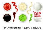 empty dip bowl and full with... | Shutterstock .eps vector #1393658201