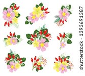 flower set  stickers set  pink  ... | Shutterstock .eps vector #1393691387