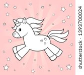 cute cartoon unicorn. black and ... | Shutterstock .eps vector #1393700024