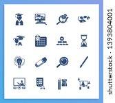 school icon set and hourglass...