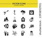 ecology icons set with zero...