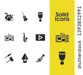 melody icons set with saxophone ...