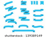 set of blue vintage ribbons | Shutterstock .eps vector #139389149