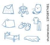 set of nursery objects as bed ... | Shutterstock .eps vector #1393897481