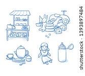 set of children's toys as doll  ... | Shutterstock .eps vector #1393897484