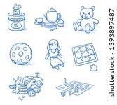 set of children's toys as doll  ... | Shutterstock .eps vector #1393897487
