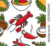 fruits vegetables and seafood...   Shutterstock .eps vector #1393902044