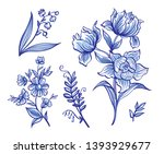 A Set Of Decorative Flowers In...