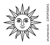 antique sun symbol with face ... | Shutterstock .eps vector #1393956041