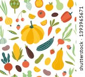 vegetables and fruits seamless... | Shutterstock .eps vector #1393965671