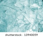 Background of clear glass broken into pieces - stock photo