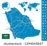 saudi arabia road map and map...   Shutterstock .eps vector #1394045837
