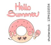 cute hand drawn lettering hello ... | Shutterstock .eps vector #1394103554