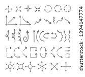 doodle vector arrows. hand... | Shutterstock .eps vector #1394147774
