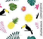 tropic fruit pineapple  toucan... | Shutterstock .eps vector #1394193974