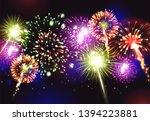fireworks realistic background... | Shutterstock .eps vector #1394223881