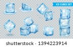 blue ice cube transparent... | Shutterstock .eps vector #1394223914