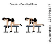 one arm dunbbell row exercise... | Shutterstock .eps vector #1394446847