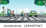 elderly and disabled people... | Shutterstock .eps vector #1394457467