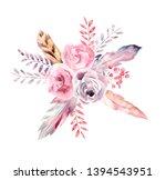 watercolor bouquet. boho style. ...   Shutterstock . vector #1394543951