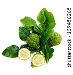 Small photo of Fresh green lime. Kafir. Isolated over white