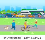city traffic with transport... | Shutterstock .eps vector #1394623421