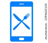 cutlery and smartphone on white | Shutterstock .eps vector #1394632154