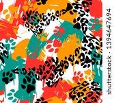 animal print skin of leopard ... | Shutterstock .eps vector #1394647694