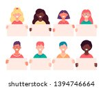 smiling young people holding... | Shutterstock .eps vector #1394746664