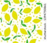 cute lemon seamless pattern... | Shutterstock .eps vector #1394750861
