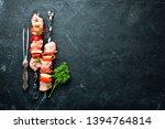raw chicken shish kebab with...
