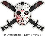 horror scary hockey goalie mask ... | Shutterstock .eps vector #1394774417