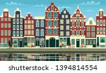 a street in amsterdam with... | Shutterstock .eps vector #1394814554