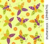 seamless drawing butterflies... | Shutterstock .eps vector #139484741