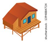 ski resort wood cabin icon.... | Shutterstock .eps vector #1394884724