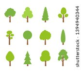 tree icon set. green plants... | Shutterstock . vector #1394940344