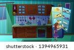 little girl taking bottle of...   Shutterstock .eps vector #1394965931